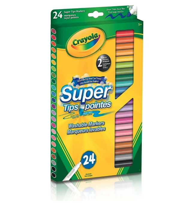 Crayola Washable Super Tips Markers, 24 Pack. Image via Staples.