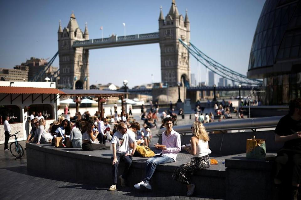 Londoners have been basking in the sun.  (REUTERS)