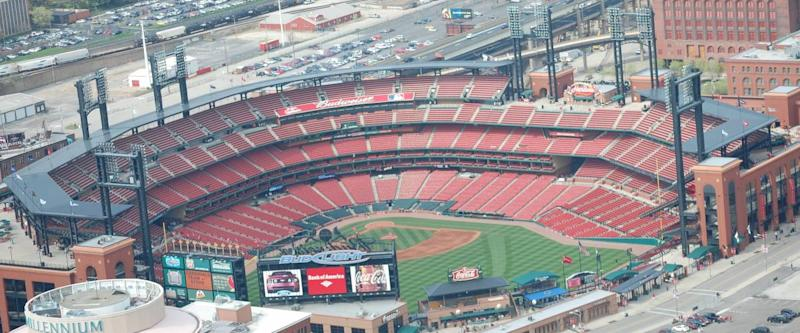 Aerial view of Busch stadium from the Gateway Arch