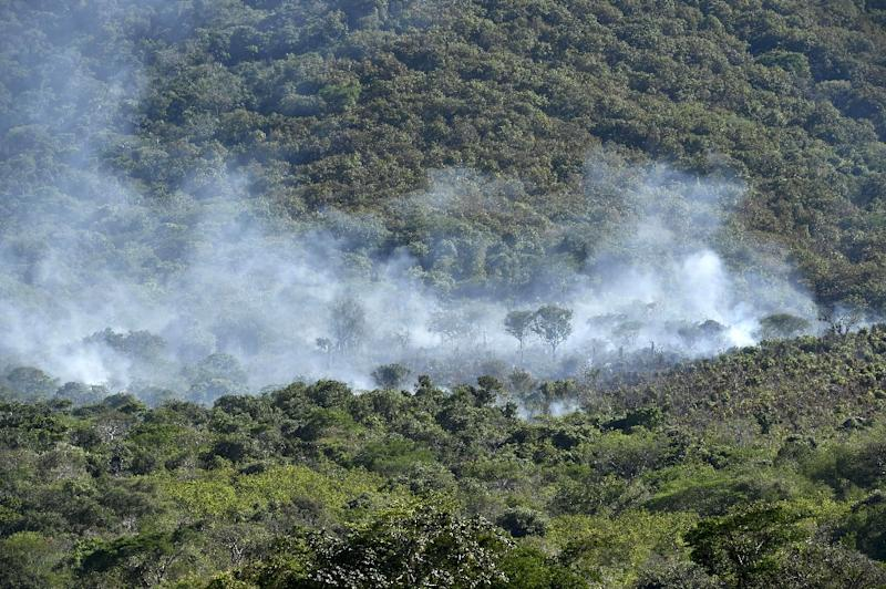Smoke raises after a military helicopter was shot down in Villa Vieja community, Villa Purificacion, Jalisco State, Mexico on May 2, 2015 (AFP Photo/Yuri Cortez)