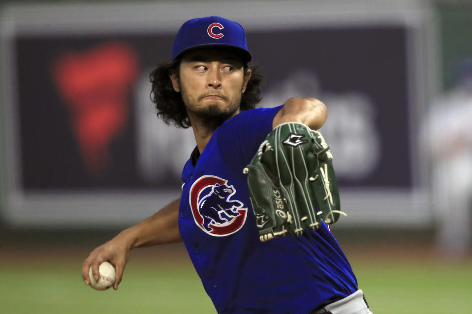 Chicago Cubs starting pitcher Yu Darvish delivers to a Kansas City Royals batter during the fifth inning of a baseball game at Kauffman Stadium in Kansas City, Mo., Wednesday, Aug. 5, 2020. (AP Photo/Orlin Wagner)