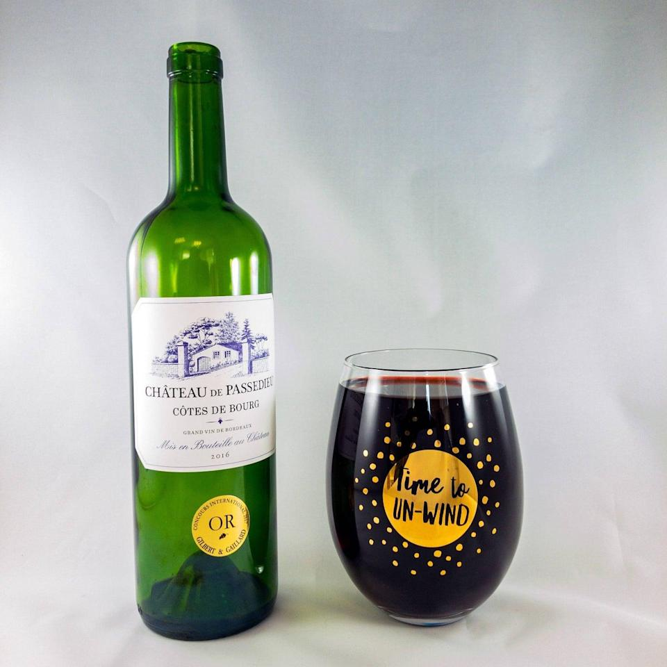 <p>The <span>Giant Wine Glass Gold</span> ($10) is the gift that keeps on giving for wine-lovers. It can hold around a whole bottle of wine!</p>
