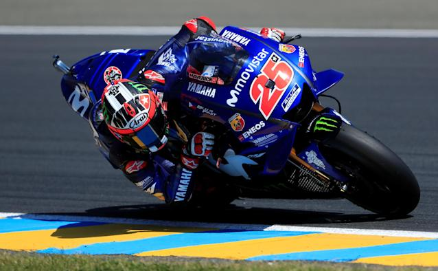 Motorcycling - MotoGP - French Grand Prix - Bugatti Circuit, Le Mans, France - May 19, 2018 Movistar Yamaha MotoGP's Maverick Vinales during practice REUTERS/Gonzalo Fuentes