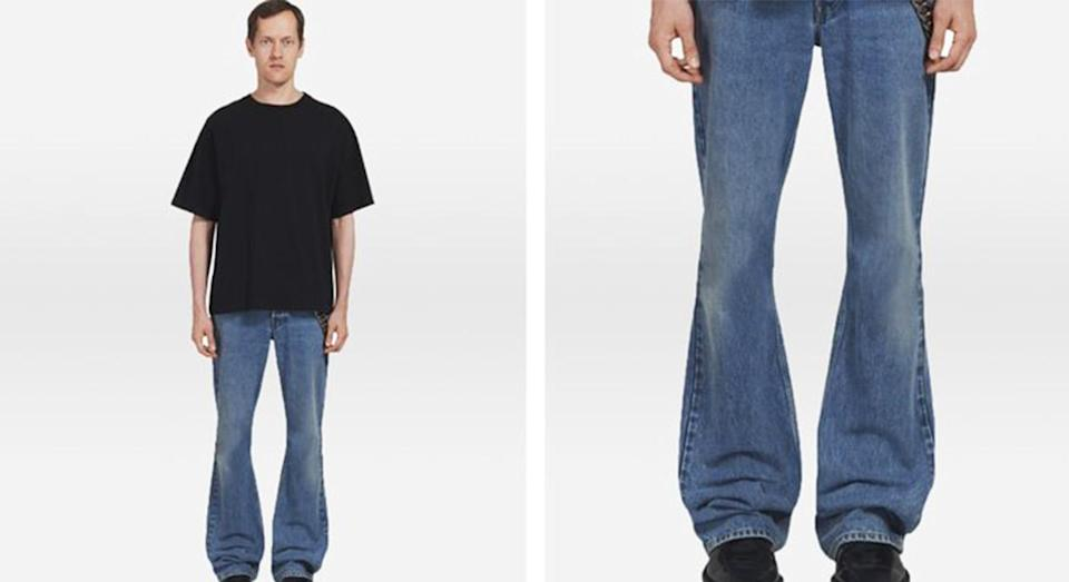 People aren't sure about these bootcut jeans. [Photo: Balenciaga)