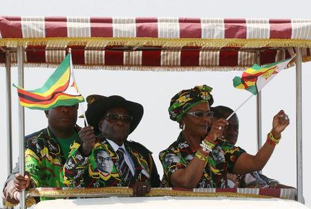 President Robert Mugabe and his wife Grace arrive for a rally in Gweru, Zimbabwe, September 1, 2017. REUTERS/Philimon Bulawayo
