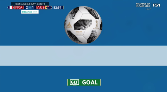 The goal-line technology replay of France's second goal against Australia. (Screenshot: Fox Sports 1 broadcast)