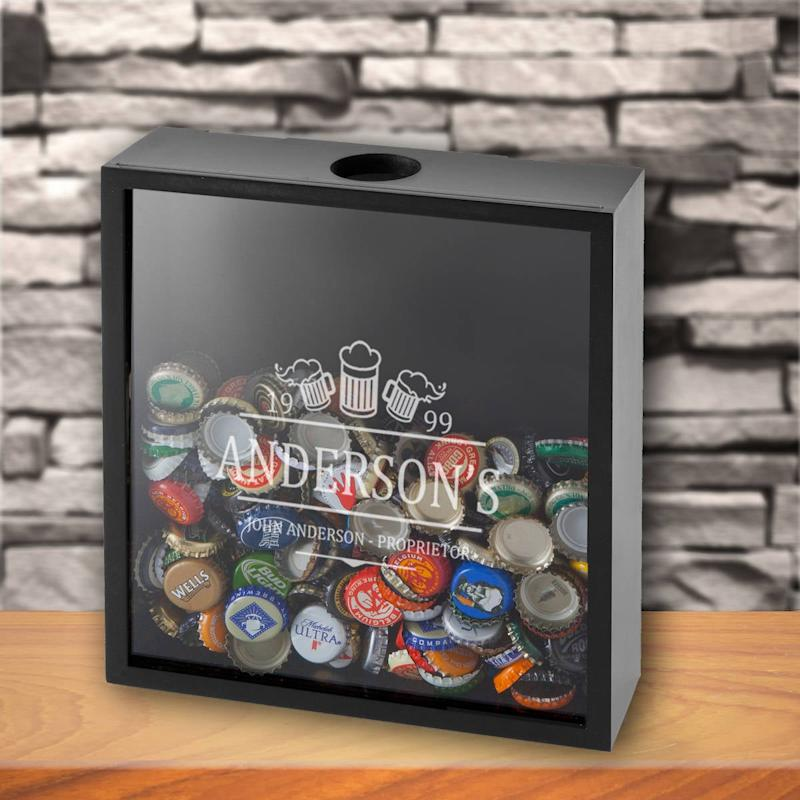 Personalized Beer Bottle Cap Display Shadow Box
