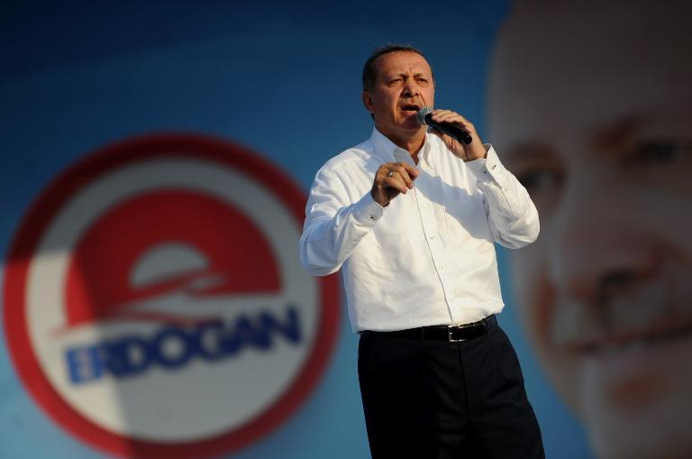 Turkish Prime Minister and Presidential candidate Recep Tayyip Erdogan speaks during a rally on August 3,2014 in Istanbul