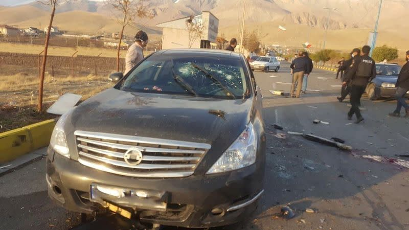 FILE PHOTO: A view shows the scene of the attack that killed Prominent Iranian scientist Mohsen Fakhrizadeh, outside Tehran