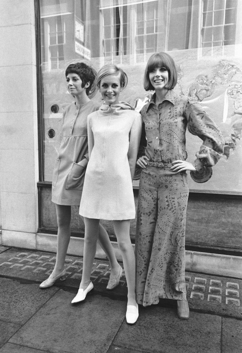 <p>In the late '60s, British supermodel Twiggy set the tone for much of the decade's street style. In this hooded dress, alongside Jenny Russell and Diane De La Roche, she brings the mod movement to the forefront.</p>