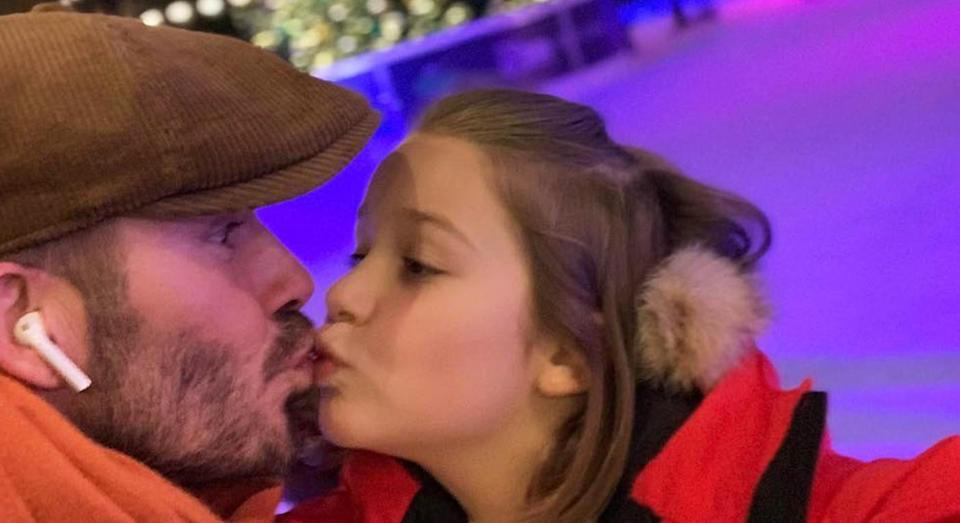 David Beckham pictured kissing daughter Harper on the lips. [Photo: Instagram]