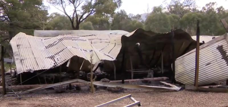 The aftermath of the Tyaak holiday home fire in Victoria that claimed three people's lives.