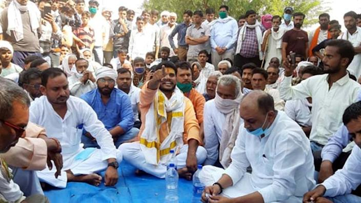 A rally by Thakurs in Hathras in support of the rape accused