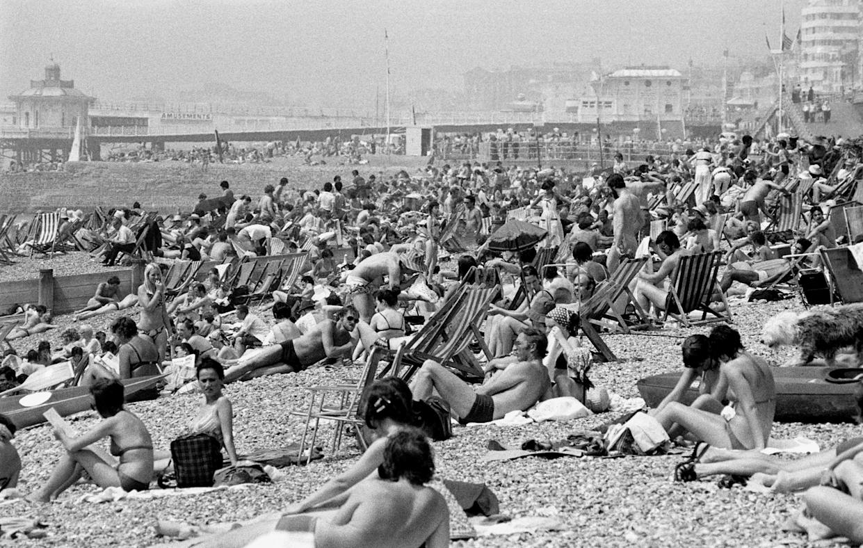 The scene on Brighton beach as temperatures soared during June, 1976. (PA Wire)