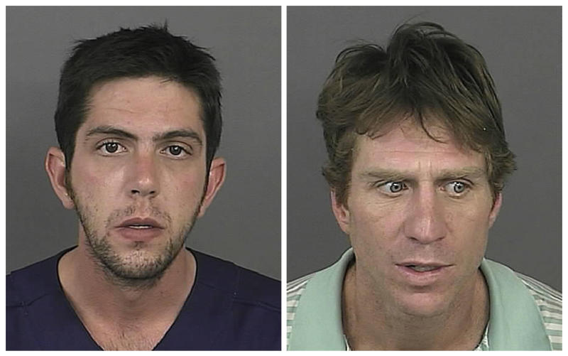 """This combination made with photos provided by the Denver Police on Friday, Sept. 16 2011 shows Mark Rubinson, 25, left, and Robert Young, 43. The men are accused of driving around with a dead friend, using his ATM/debit card and visiting a strip club in a less-amusing real-life version of the film """"Weekend at Bernie's.""""  It is unclear how the friend, Jeffery Jarrett, died, but the men are not charged in his death. (AP Photo/Denver Police)"""