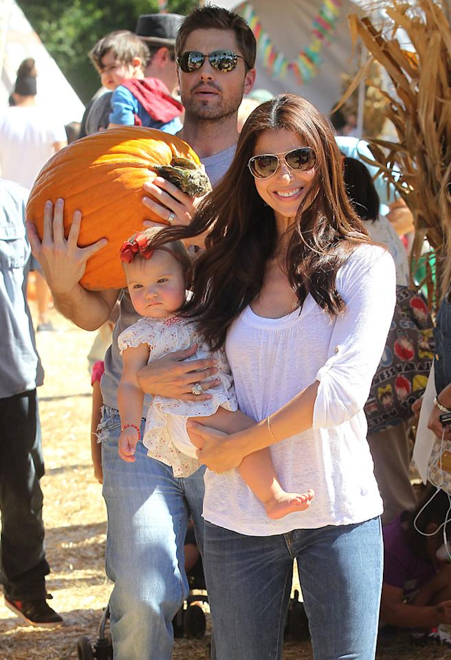 Roselyn Sanchez takes her daughter Sebella Rose to Mr Bones Pumpkin Patch.