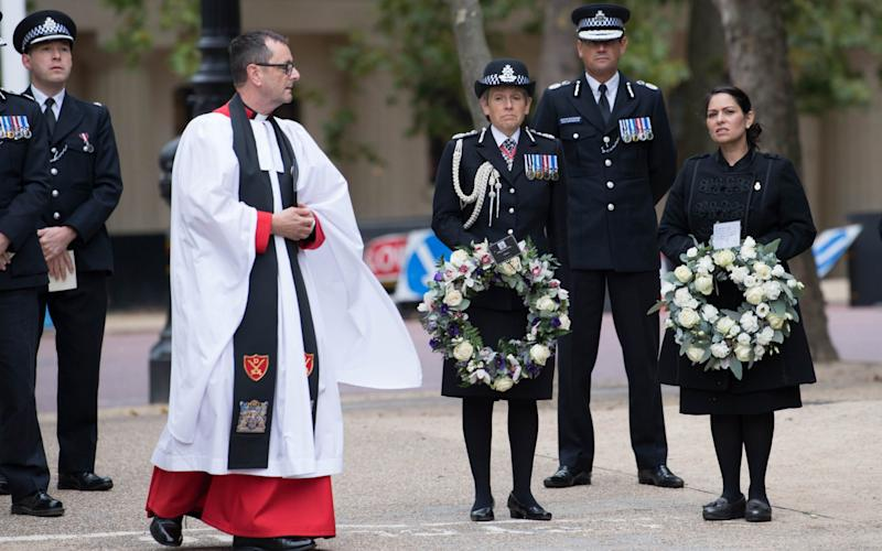 Dame Cressida Dick and Priti Patel attend the National Police Memorial - Stefan Rousseau/PA