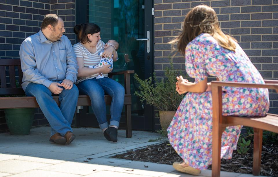 EMBARGOED: No onward transmission before 2100 BST Sat 27/6/2020. Not for publication before 2200 BST Sat 27/6/2020. The Duchess of Cambridge meets Liam and Lisa Page and baby Connor during a visit to The Nook in Framlingham Earl, Norfolk, which is one of the three East Anglia Children's Hospices (EACH).