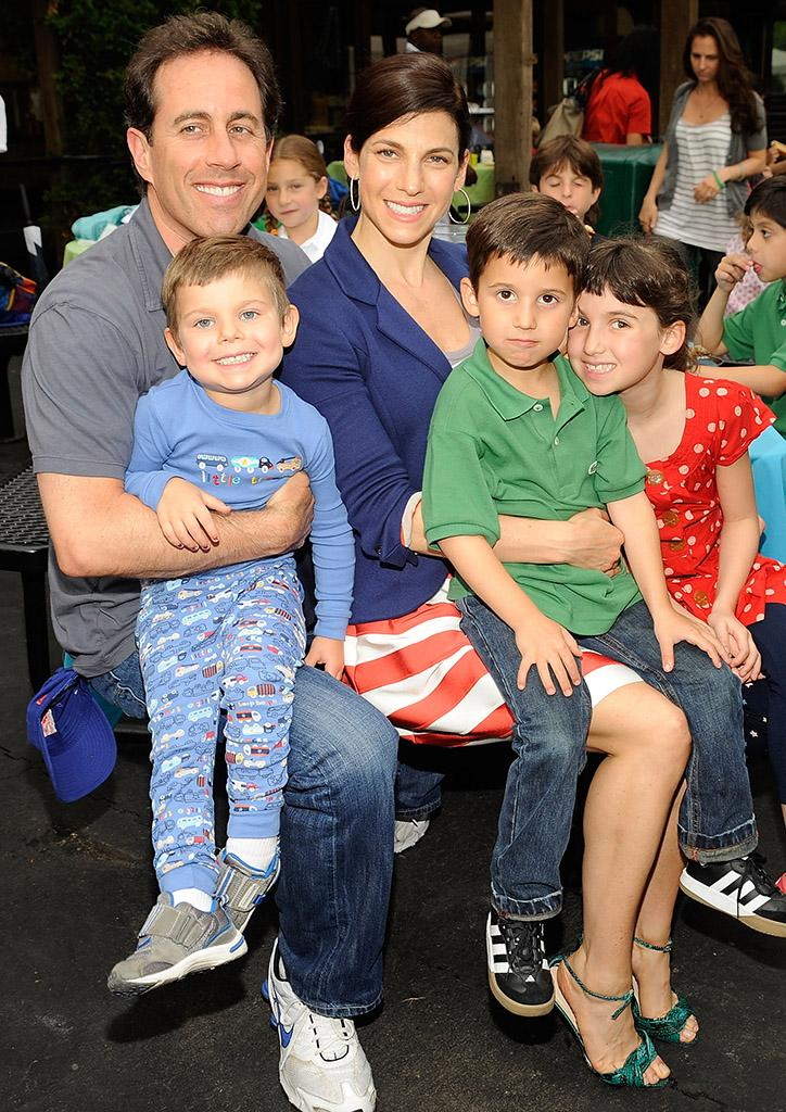 Jerry and Jessica Seinfeld with Shepherd, Julian, and Sascha in 2009