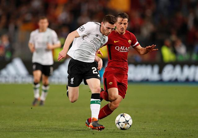 Soccer Football - Champions League Semi Final Second Leg - AS Roma v Liverpool - Stadio Olimpico, Rome, Italy - May 2, 2018 Liverpool's Andrew Robertson in action with Roma's Alessandro Florenzi Action Images via Reuters/John Sibley