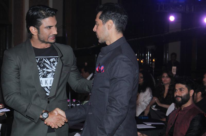 MUMBAI, INDIA - MARCH 20: (EDITOR'S NOTE: This is an exclusive shoot of Hindustan Times) Bollywood actors Dino Morea and Sushant Singh Rajput during Hindustan Times Most Stylish Awards 2016 at Taj Lands End, Bandra on March 20, 2016 in Mumbai, India. (Photo by Pramod Thakur/Hindustan Times via Getty Images)