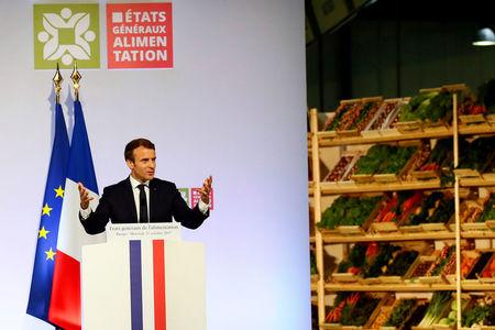 French President Emmanuel Macron delivers his speech during a meeting at Rungis international food market in Rungis, near Paris, October 11, 2017.  REUTERS/Francois Mori/Pool