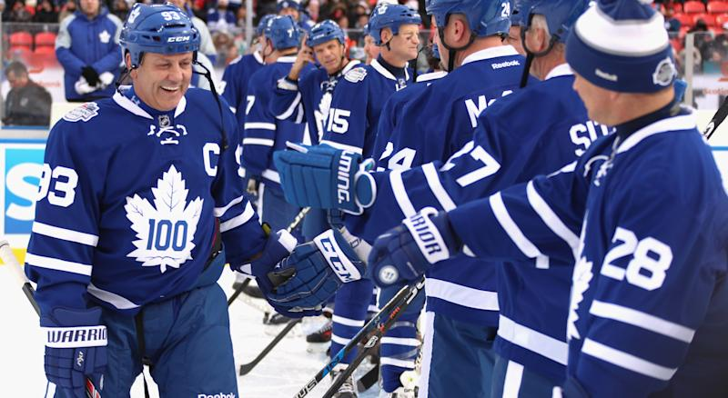 Doug Gilmour is back in blue and white. (Photo by Dave Sandford/NHLI via Getty Images)