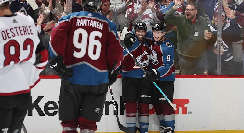 DENVER, COLORADO - OCTOBER 12: Nazem Kadri #91 of the Colorado Avalanche celebrates with teammates Cale Makar #8 and Mikko Rantanen #96 after scoring a goal against the Arizona Coyotes at the Pepsi Center on October 12, 2019 in Denver, Colorado. (Photo by Michael Martin/NHLI via Getty Images)