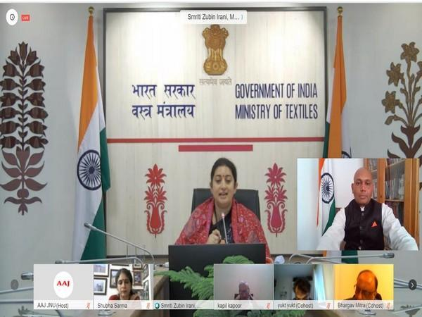 Ambassador Abhay Kumar and Union Minister Smirti Zubin Irani at a webinar organised by the Alumni Association of Jawaharlal Nehru University.