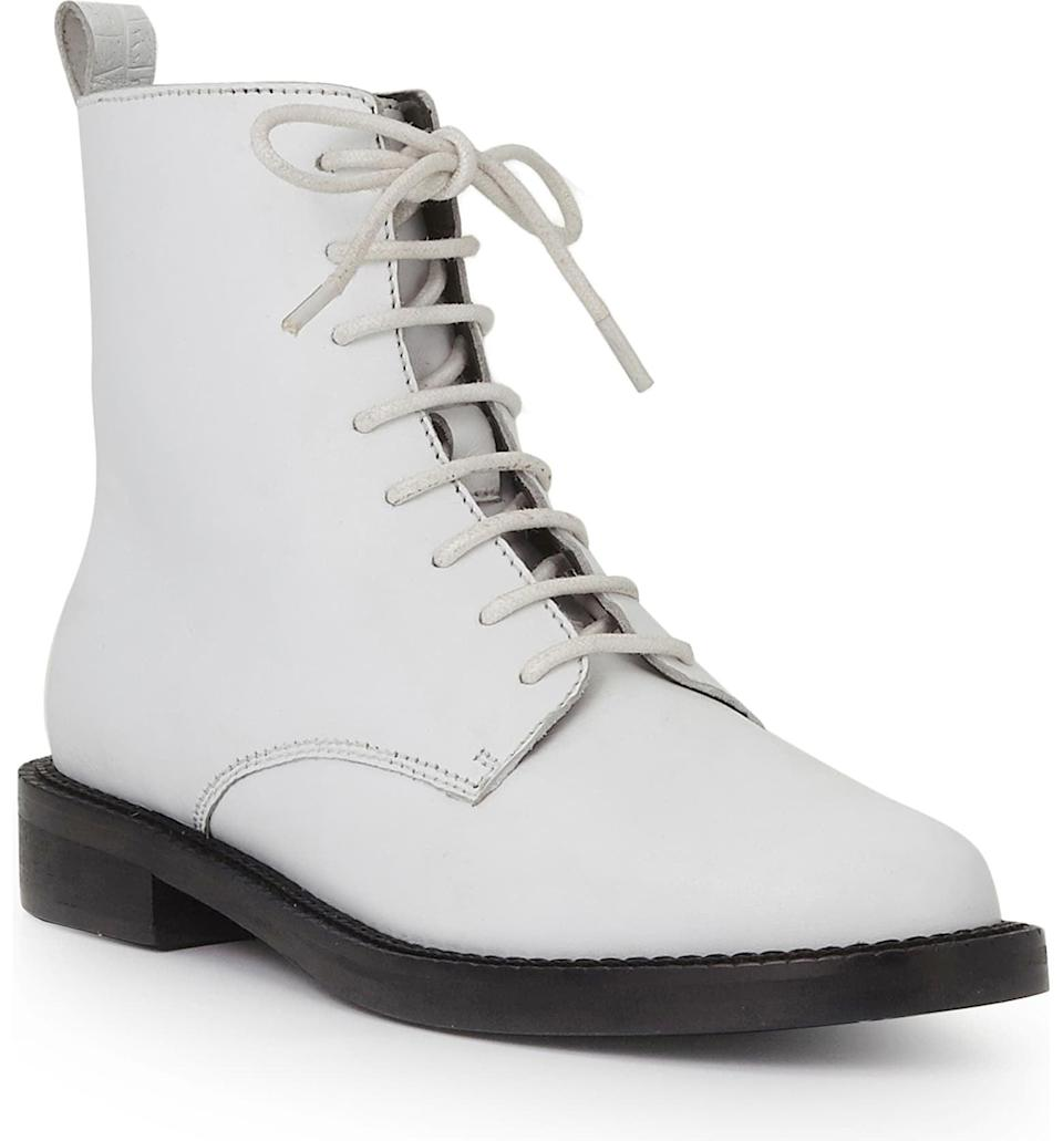 <p>Lace-up styles are going to be everywhere this year, and we'll be wearing these white <span>Sam Edelman Nina Booties</span> ($150). They're both sleek and tough, and we love them.</p>