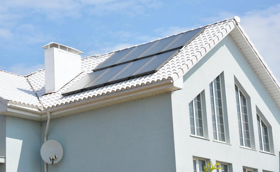A house with solar panels on the roof.