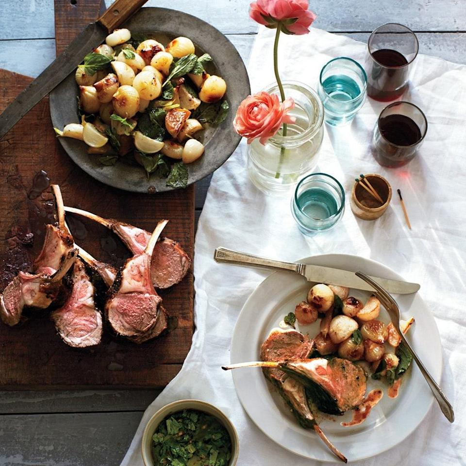 """You'll add turnips and little onions to the skillet with these racks of lamb, then roast them all together until the lamb is medium rare. A simple salsa verde perks things up. <a href=""""https://www.epicurious.com/recipes/food/views/rack-of-lamb-with-baby-turnips-and-mint-salsa-verde-51154970?mbid=synd_yahoo_rss"""" rel=""""nofollow noopener"""" target=""""_blank"""" data-ylk=""""slk:See recipe."""" class=""""link rapid-noclick-resp"""">See recipe.</a>"""