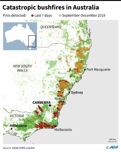 Location of areas affected by fires since September 2019 in Australia