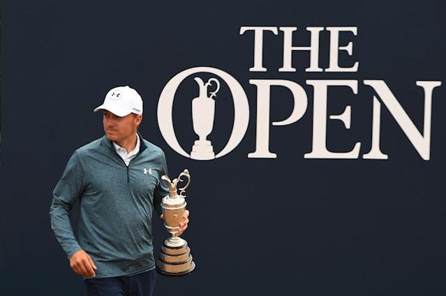 Defending Open champion Jordan Spieth pictured with the winner's Claret Jug, which he hopes to retain at this year's Open starting Thursday. (AFP)