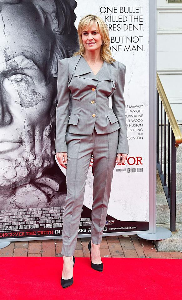 """<a href=""""http://movies.yahoo.com/movie/contributor/1800019047"""">Robin Wright</a> attends the Washington DC premiere of <a href=""""http://movies.yahoo.com/movie/1810194800/info"""">The Conspirator</a> on April 10, 2011."""