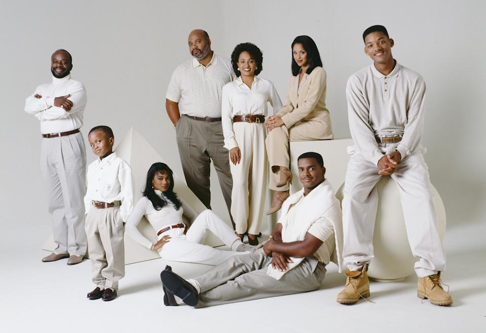 THE FRESH PRINCE OF BEL-AIR -- Season 5 -- Pictured: (l-r) Back: Joseph Marcell as Geoffrey, James Avery as Philip Banks, Daphne Reid as Vivian Banks, Karyn Parsons as Hilary Banks, Will Smith as William 'Will' Smith; Front: Ross Bagley as Nicky Banks, Tatyana Ali as Ashley Banks, Alfonso Ribeiro as Carlton Banks -- Photo by: Gary Null/NBCU Photo Bank