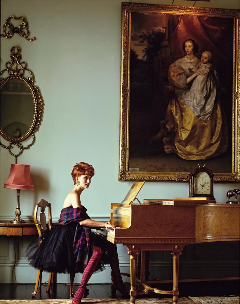 """That short tulle dress accessorized with the tartan shawl is one of my favorite images of all time. Linda gives everything wit and humor, not least here. The hilarious Lucille Ball red hair reference in that collection was intended as a wet dream about Scotland."""
