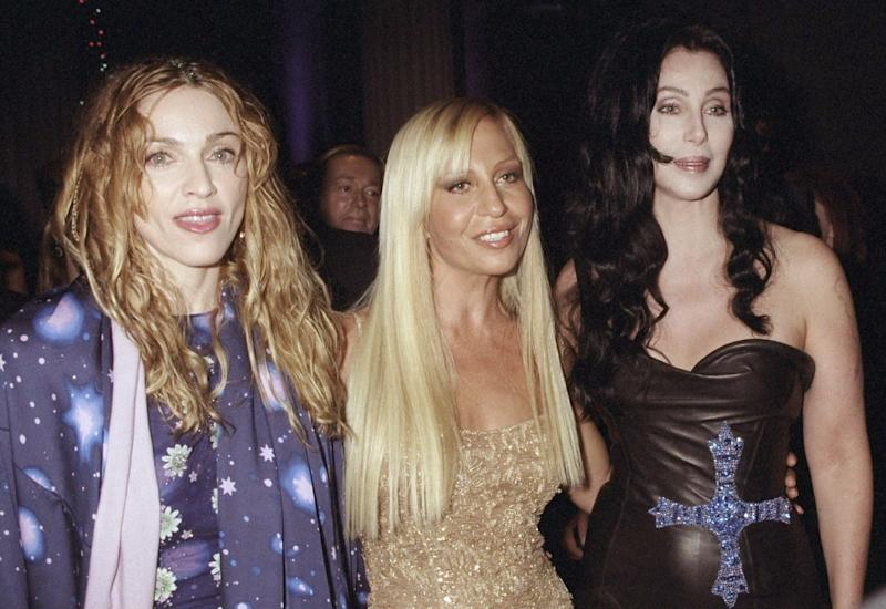 Madonna, Donatella Versace and Cher attending the 1998 Metropolitan Museum of Art Costume Institute gala. (Photo: Richard Corkery/NY Daily News Archive via Getty Images)