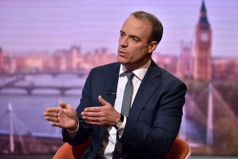 BBC Britain's Foreign Secretary and First Secretary of State Dominic Raab gestures as he appears on the BBC political programme The Andrew Marr Show: BBC/AFP via Getty Images