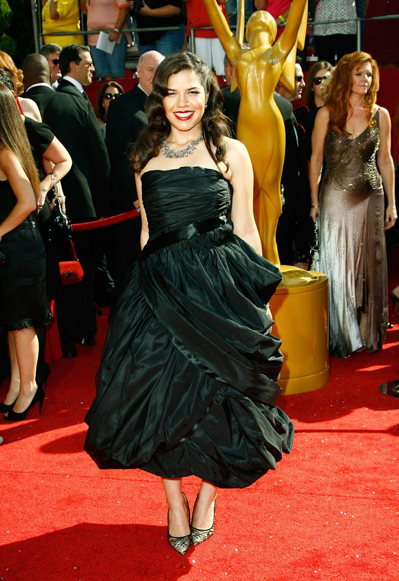 America Ferrera, in vintage, arrives at the 60th Primetime Emmy Awards at the Nokia Theater on September 21, 2008 in Los Angeles, California.