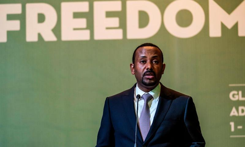 Abiy Ahmed, prime Minister of Ethiopia, speaks at the Guillermo Cano world press freedom prize ceremony in Addis Ababa in May 2019.