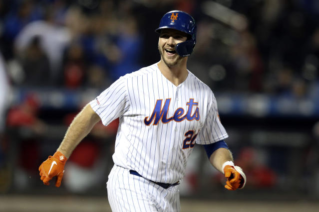 New York Mets' Pete Alonso reacts after being walked with the bases loaded for the win against the Philadelphia Phillies in the ninth inning of their baseball game Friday, Sept. 6, 2019, in New York. (AP Photo/Mary Altaffer)