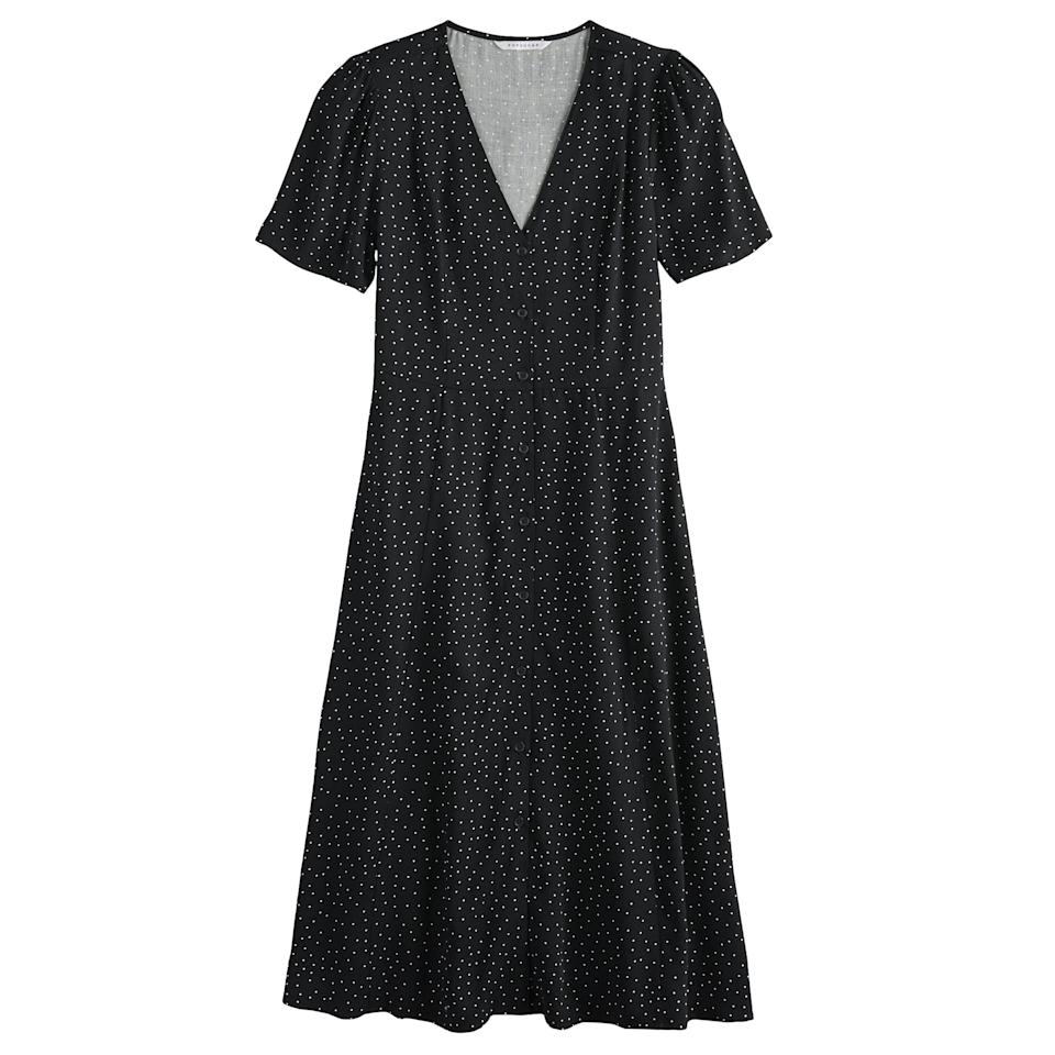 """<p>""""I'm excited to embrace longer hemlines for Fall and this <a href=""""https://www.popsugar.com/buy/POPSUGAR-Button-Up-Midi-Dress-483888?p_name=POPSUGAR%20Button-Up%20Midi%20Dress&retailer=kohls.com&pid=483888&price=48&evar1=fab%3Aus&evar9=46536407&evar98=https%3A%2F%2Fwww.popsugar.com%2Ffashion%2Fphoto-gallery%2F46536407%2Fimage%2F46536513%2FAffordable-Fall-Fashion-Favorite-POPSUGAR-Button-Up-Midi-Dress&prop13=api&pdata=1"""" rel=""""nofollow"""" data-shoppable-link=""""1"""" target=""""_blank"""" class=""""ga-track"""" data-ga-category=""""Related"""" data-ga-label=""""https://www.kohls.com/product/prd-3827165/womens-popsugar-button-up-midi-dress.jsp?color=Twilight%20Dot&amp;prdPV=3"""" data-ga-action=""""In-Line Links"""">POPSUGAR Button-Up Midi Dress</a> ($48, originally $64) in a delicate polka-dot print is my ideal version to wear at the office and for dinners with my family and friends."""" </p>"""