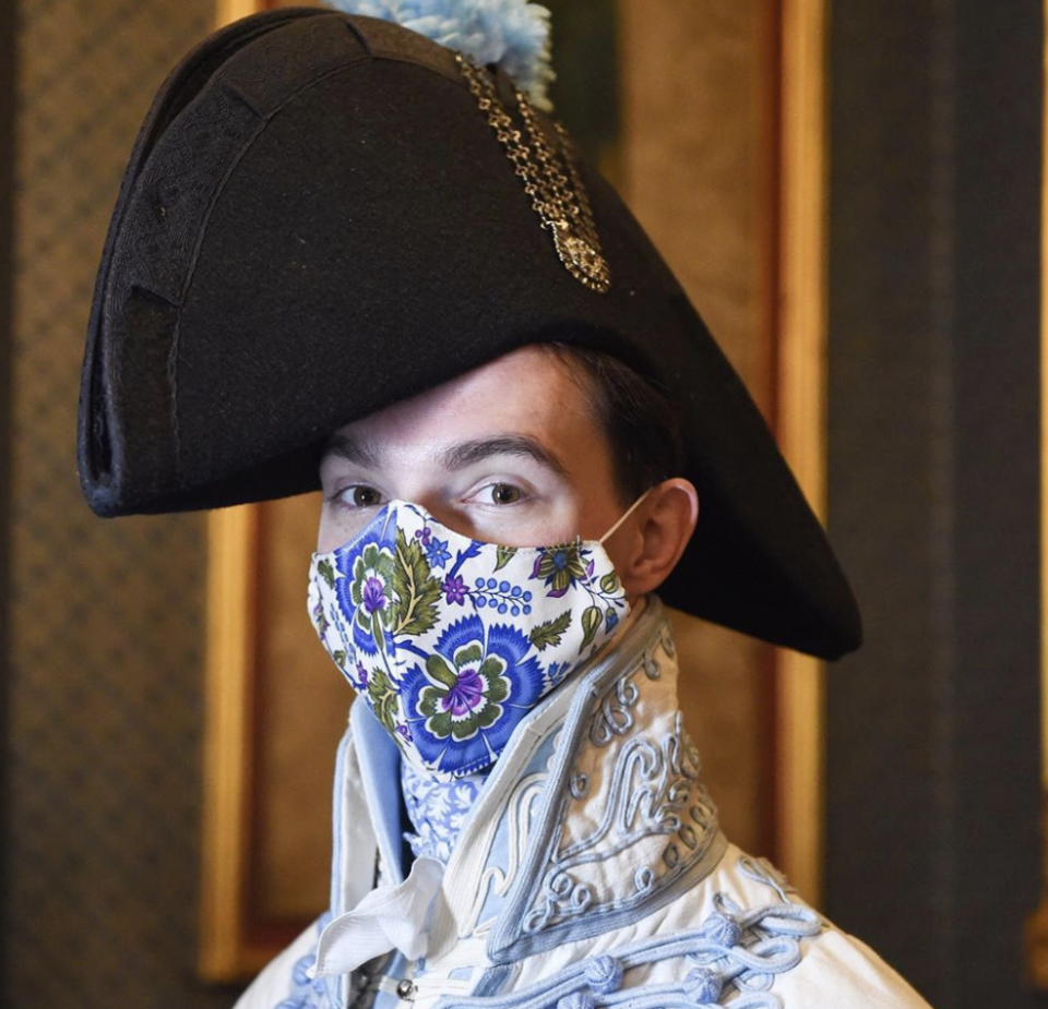 Zavk Pinsent uses reproduction period fabrics to create his masks inspired by historical fashion (Photo: Digby Pinsent)
