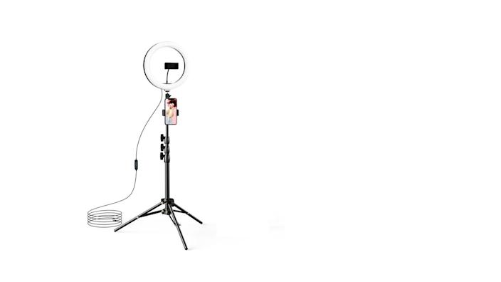 Not only does this selfie ring have an adjustable tripod, it's got three different colored lights for the best photos.