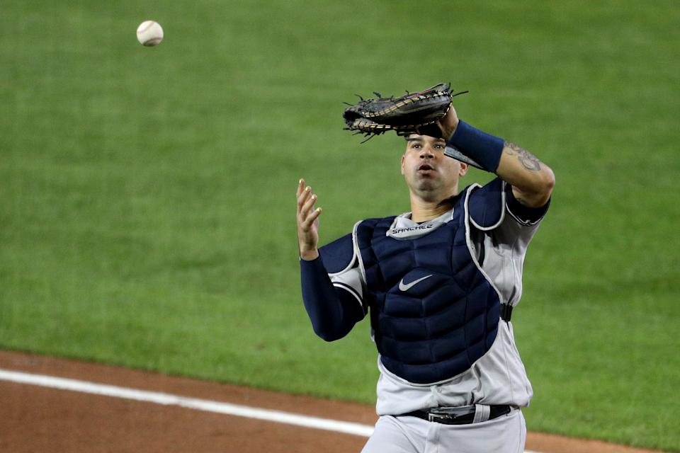 The struggles of catcher Gary Sanchez are just one reason why the New York Yankees are losing their grip on a playoff spot. (Photo by Bryan M. Bennett/Getty Images)