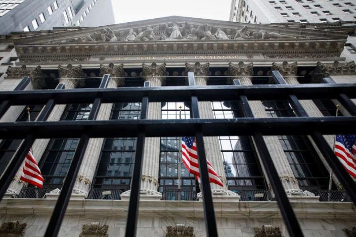 The front facade of the NYSE is seen in New York
