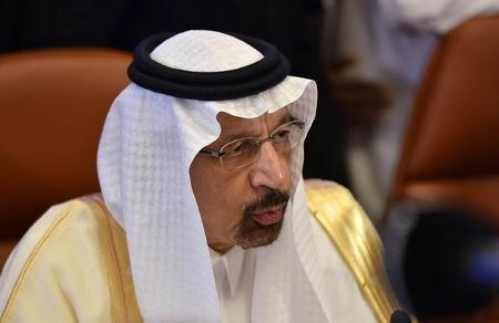 Saudi Arabian Energy Minister Khalid al-Falih speaks to the media before the OPEC 14th Meeting of the Joint Ministerial Monitoring Committee in Jeddah