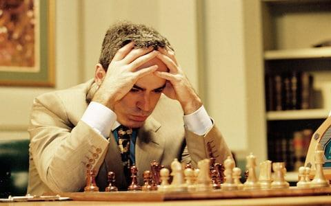 Garry Kasparov playing against Deep Blue in 1997 - Credit: Rex Features