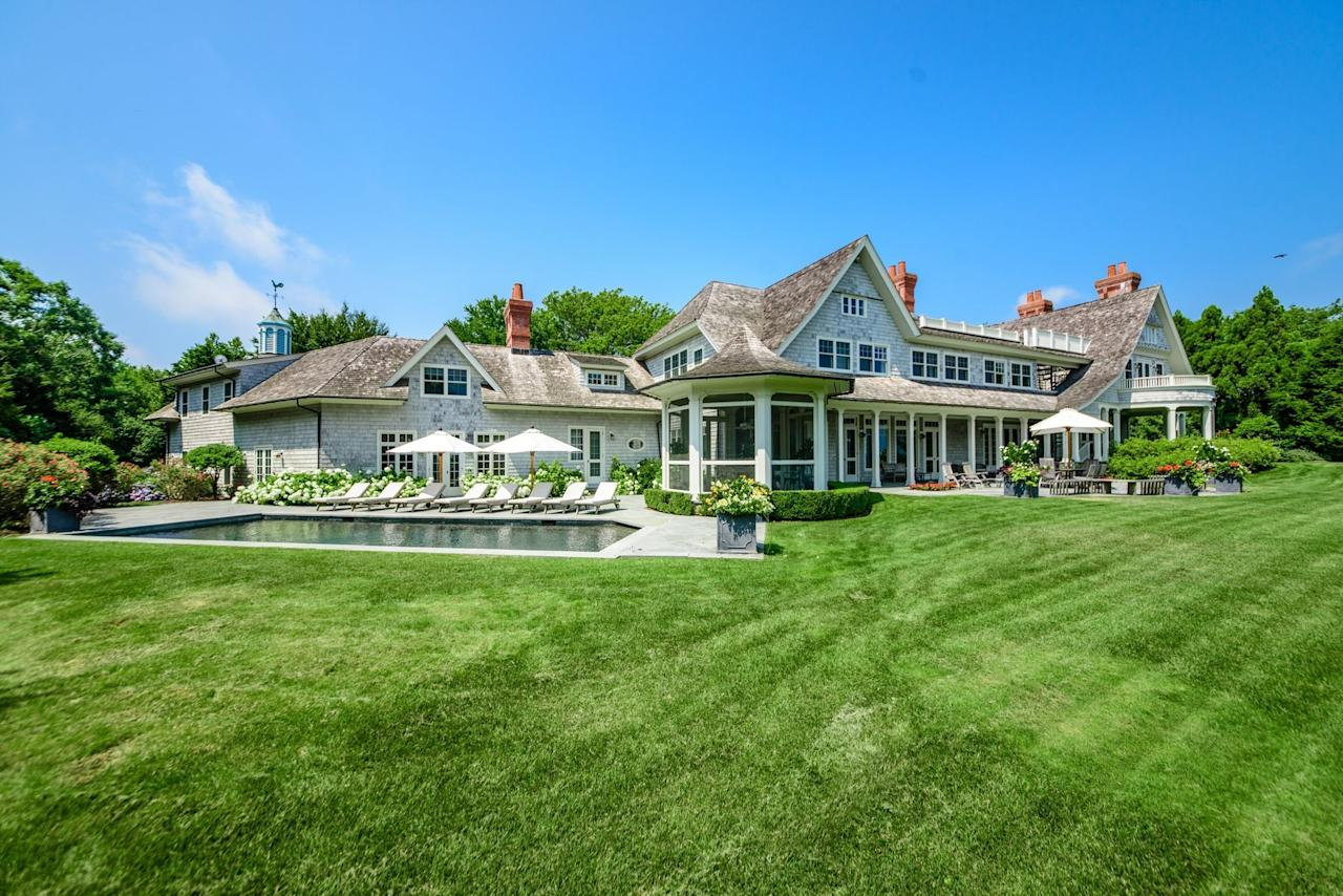 """<p>It sits on about <a rel=""""nofollow"""" href=""""https://www.trulia.com/blog/celebrity-homes/harvey-weinstein-sells-connecticut-home-lists-hamptons-estate/"""">two acres on Gardiner's Bay</a>, Trulia reports, and the property includes a heated swimming pool.</p>"""